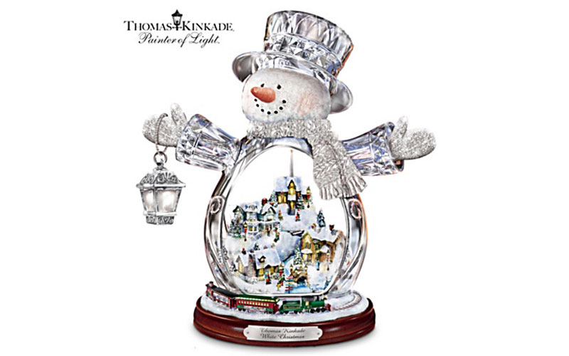 Thomas Kinkade Crystal Snowman with Village & Moving Train