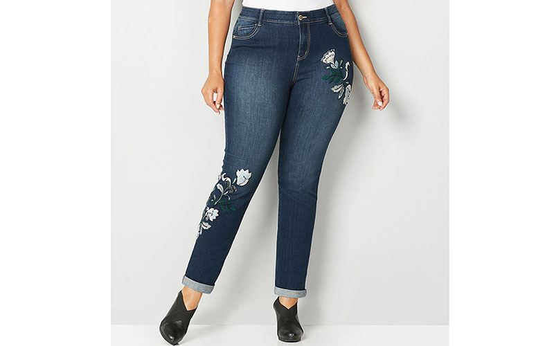 Embroidered Cuffed Flexi Fit Ankle Plus Size Jean
