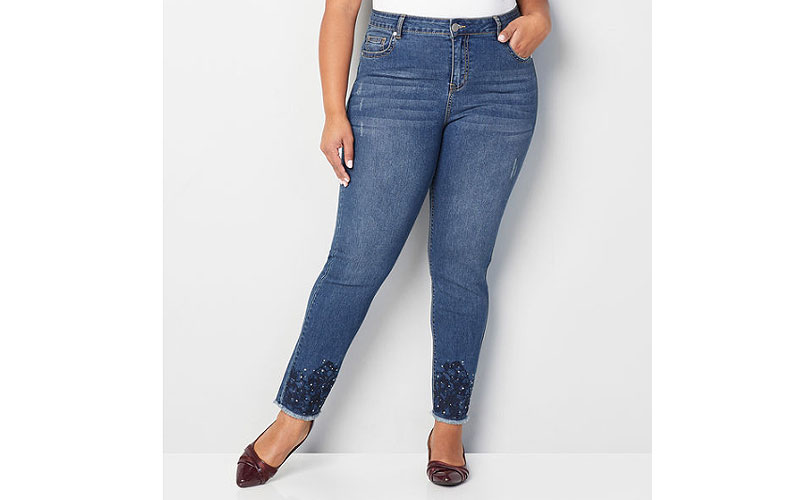 Embroidered Stud Skinny Ankle Plus Size Jeans