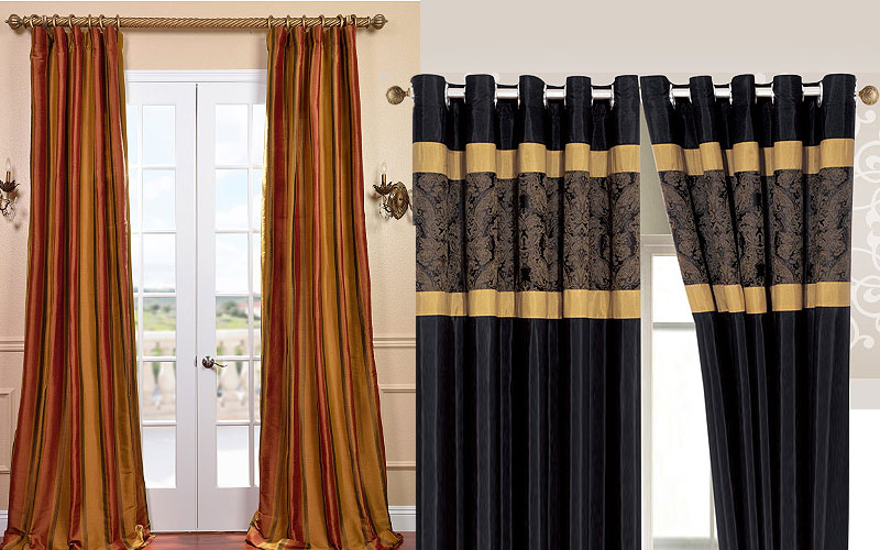 Up to 65% Off on Designer Silk Stripe Curtains