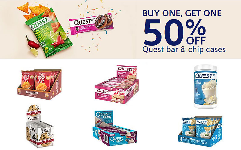 Buy 1, Get One 50% Off on Quest Nutrition Bars, Cookies, Chips & More
