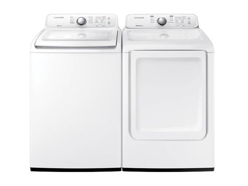 Samsung 4.5 CuFt Top Load Washer With 7.2 CuFt Front Load Electric Dryer