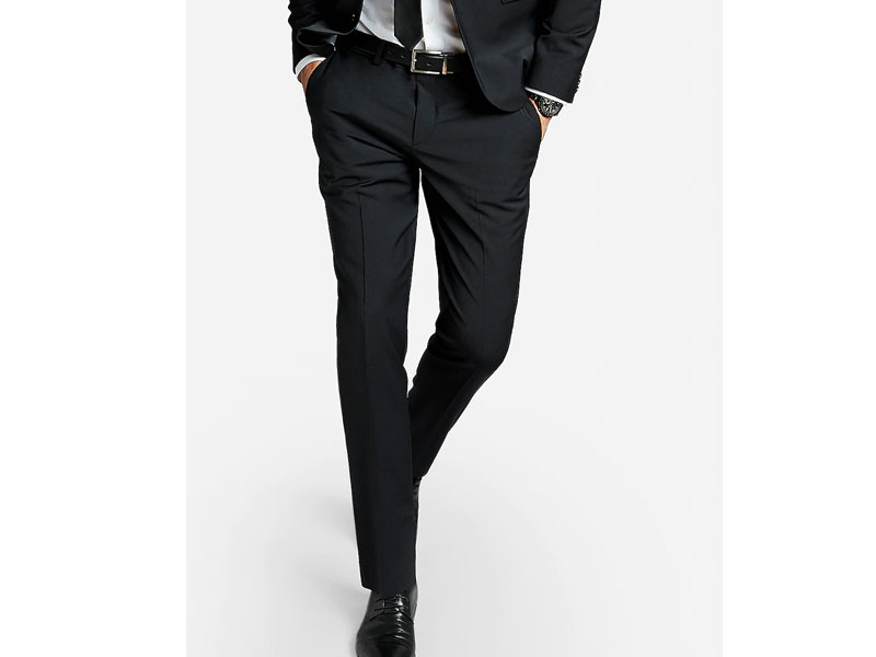 Men's Extra Slim Black Performance Stretch Wool-Blend Suit Pant