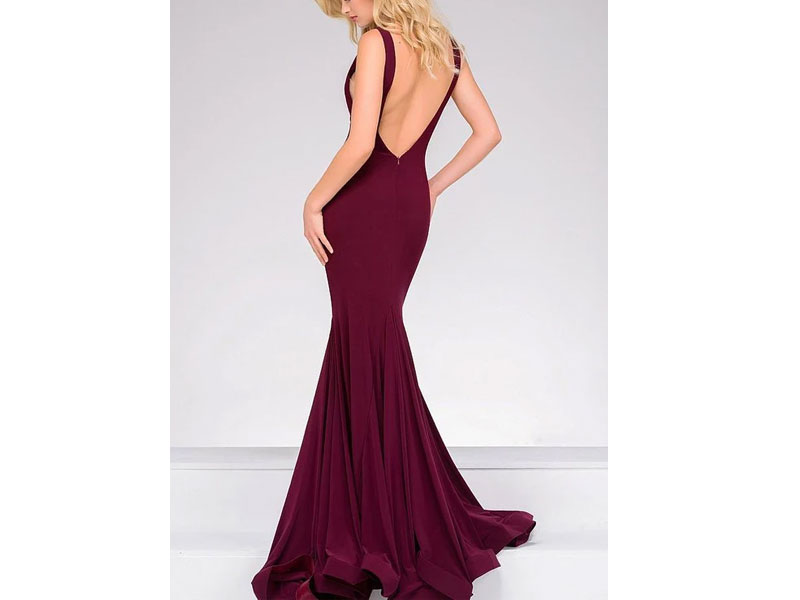 Women's Jovani Open Back Long Jersey Dress