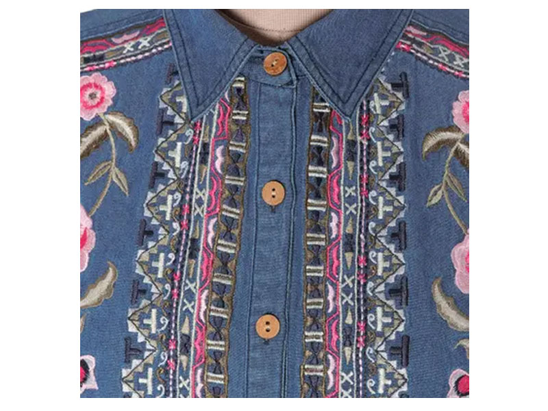 Women's Handcrafted Blue Cotton Denim Embroidered Long Sleeve Blouse