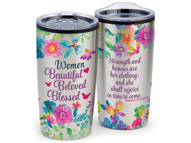 Women's Beautiful Beloved Blessed Stainless Steel Tumbler 20-Oz