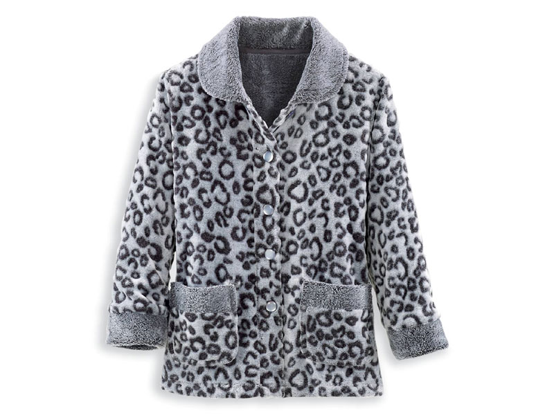 Women's Plush Snow Leopard Lounge Jacket
