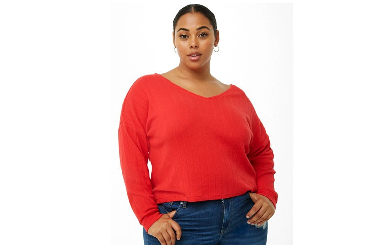 ff487fad98e 78% Off on Plus Size Raw-Cut Sweater   Forever 21 - Price   4.00 ...