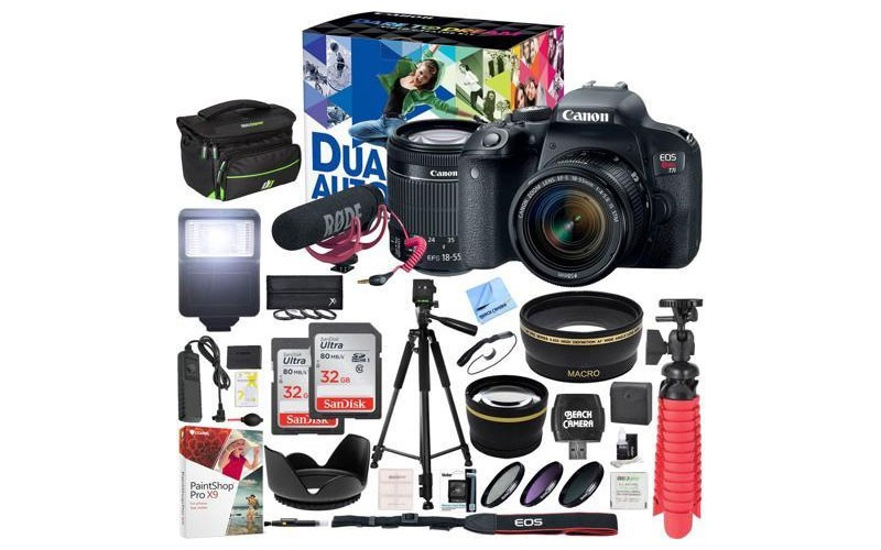 Canon T7i EOS Rebel DSLR Camera Video Creator Kit w/ EF-S 18-55mm Lens 32GB x2 B