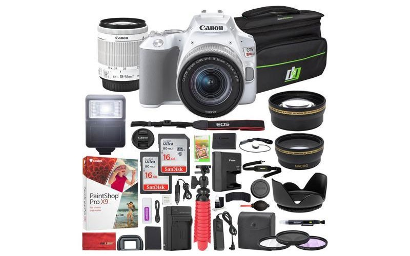 Canon EOS Rebel SL3 DSLR Camera EF-S 18-55mm f/3.5-5.6 IS II Lens White 16GB x2