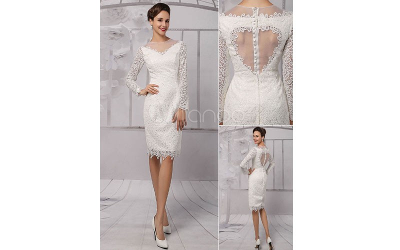 wedding dresses 2019 short long sleeve Illusion Neckline koyhole Knee length She