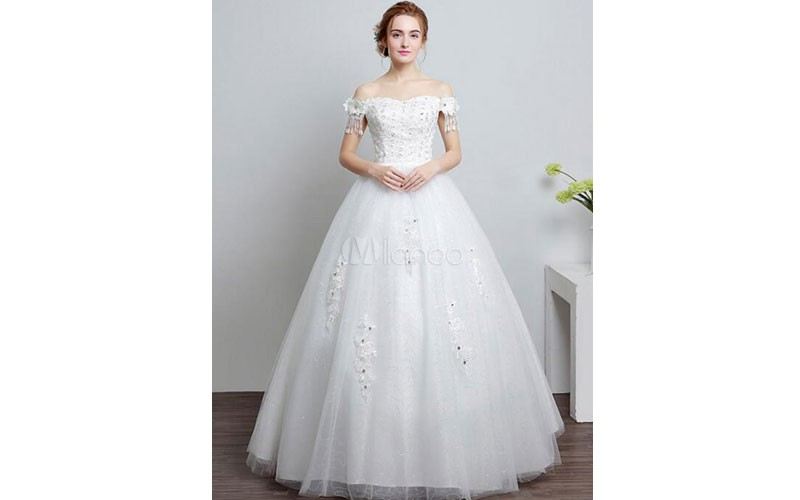 Ivory Wedding Dress Off The Shoulder Lace Ball Gown Beaded Floor Length Bridal