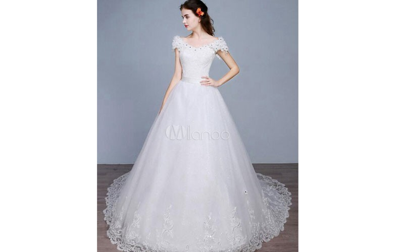 Princess Wedding Dress Off The Shoulder Backless Lace Sequins A Line Lace Up