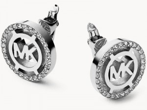 Michael Kors Silver Tone Logo Earrings For Women