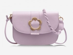 Women's Braid String Flower Shape Lock Crossbody Bag