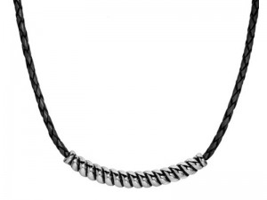 Women's Sterling Silver Twisted Rope Bar Black Ebony Braided Leather Necklace
