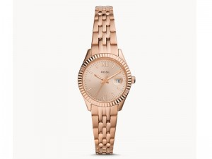 Fossil Women's Micro Three-Hand Date Rose Gold-Tone Stainless Steel Watch